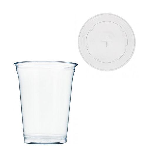 Copo Plástico PET 425ml - Aferidos a 300ml - c/Tampa para Palhinhas - Cx Completa 1072 unidades