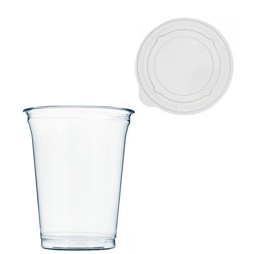 Copo Plástico PET 425ml - Aferidos a 300ml - c/Tampa Plana Fechada - Cx Completa 1072 unidades