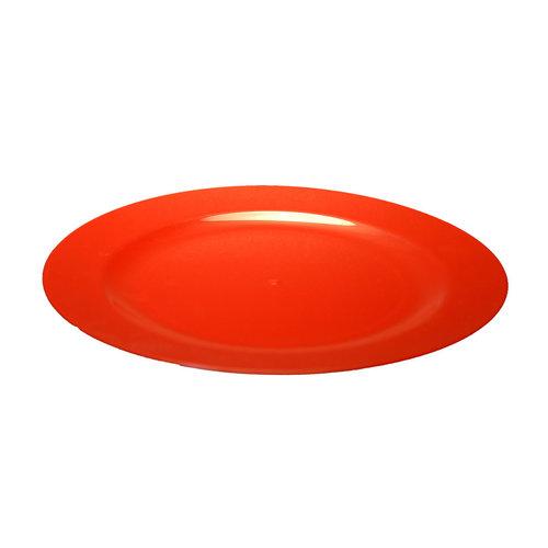 Prato Plástico Raso 19cm (Rigido) PS Cristal Cx completa 100 Unidades Vermelho