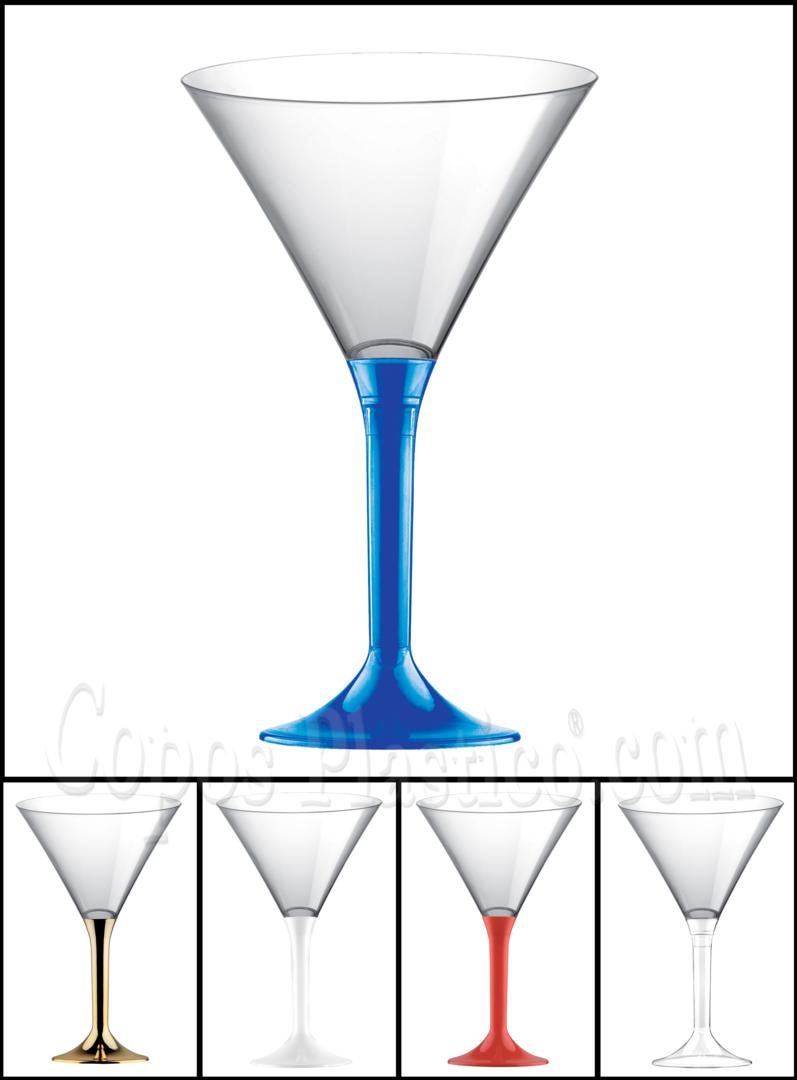 Copo de Martini PS 185 ml com Pé Azul pacote de 100 unidades