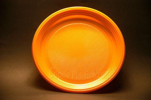 Prato Plástico Descartável22 Cm 100 Unidades Laranja