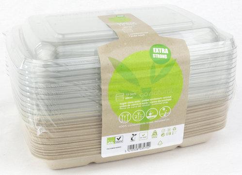 Pack Taça Rectangular c/tampa 600ml BIO - pacote 15 unidades