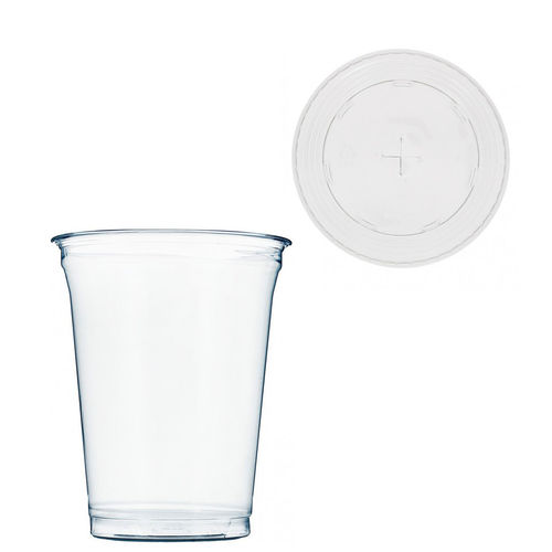 Copo Plástico PET 425ml - Aferidos a 300ml - c/Tampa para Palhinhas - Manga 67 unidades