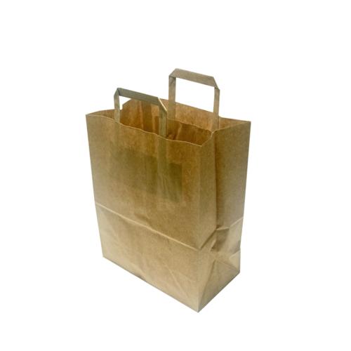 Saco de papel kraft c/ asa plana 22x29+10cm - Pacote 50 unidades