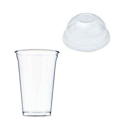 Copo Plástico PET 550ml - Aferidos a 400ml - c/Tampa Cúpula Fechada - Manga de 56 unidades