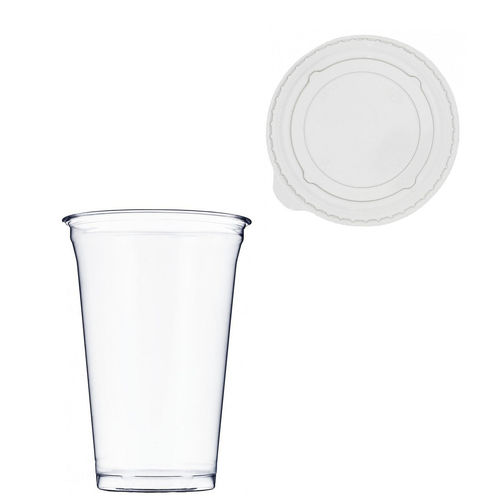 Copo Plástico PET 550ml - Aferidos a 400ml - c/Tampa Plana Fechada - Manga de 56 unidades