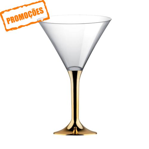Copo de Martini PS 185 ml com Pé Dourado pacote de 100 unidades