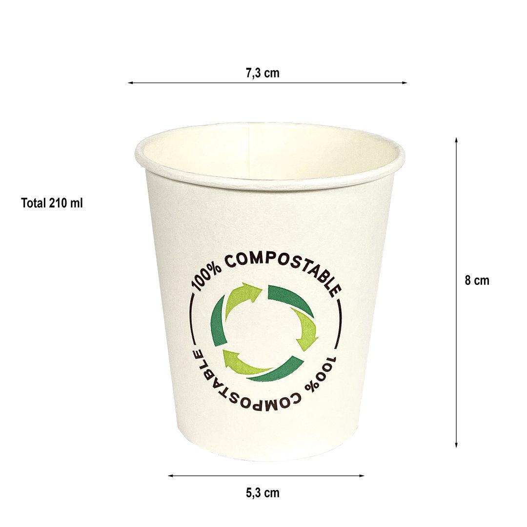 Copo Cartão Hotel 100% Compostável Embalado saco/ bio PLA 210ml (7OZ) Manga 100 unidades