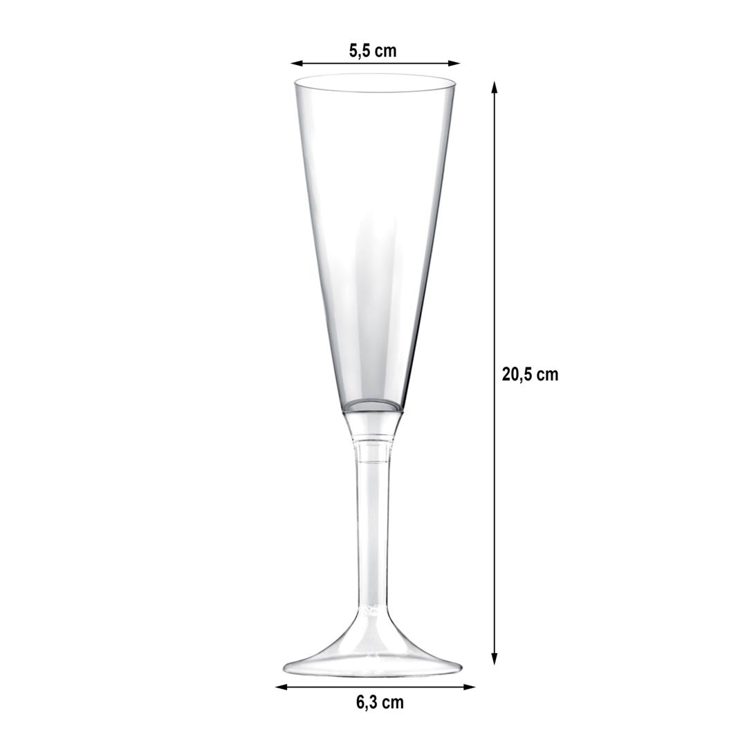 Copo de flute PS 160 ml com Pé Transparente pacote 100 unidades