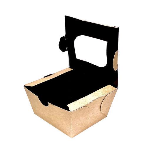 Caixa Take Away Kraft C/ Interior Preto e Janela 400ml - Pacote 25 unidades