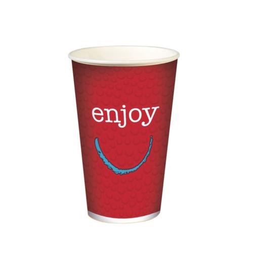 """Copo Cartão Bebidas Frias  """"Enjoy"""" 500ml -Aferido a 400ml (16OZ) Mangas 50 Uni s/ Tampa"""