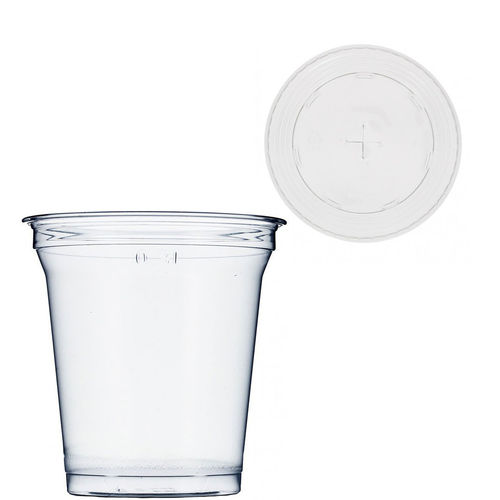 PET Plastic Cup 364ml with lid for straws - Pack 75 Units