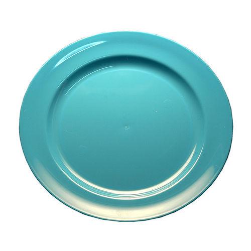 Prato Plástico Raso 19cm PS Cristal Cx completa 100 Unidades Azul