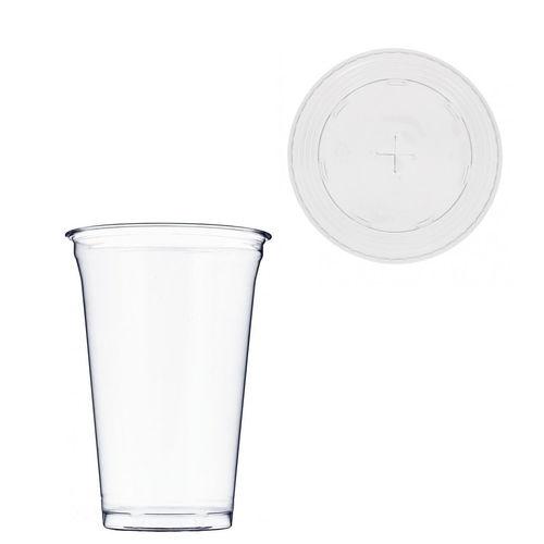 Copo Plástico PET 650ml - Aferidos a 500ml - c/Tampa para Palhinhas - Manga 50 unidades