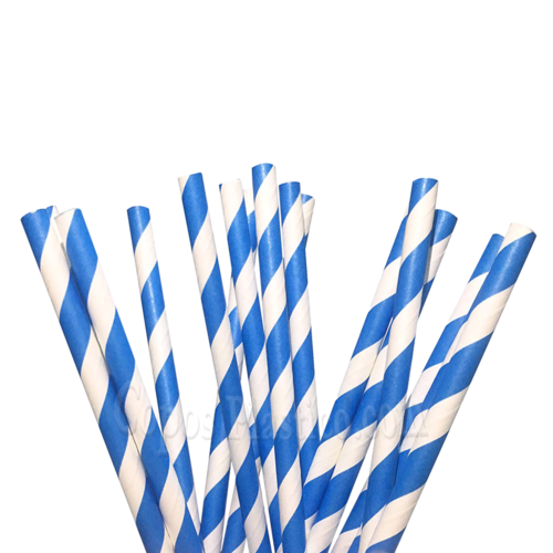 Straight Paper Straw Blue - Pack 100 units